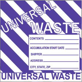 Hazardous Waste Vinyl Labels - Universal Waste (Striped)