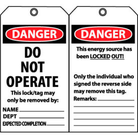 Laminated Lockout Tags - Do Not Operate