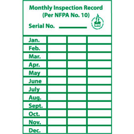 Signs Fire Safety Monthly Inspection Record Label