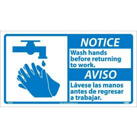 Bilingual Vinyl Sign - Notice Wash Hands Before Returning To Work