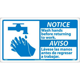 Bilingual Plastic Sign - Notice Wash Hands Before Returning To Work