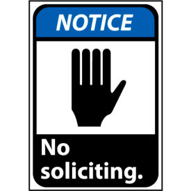 Notice Sign 14x10 Rigid Plastic - No Soliciting
