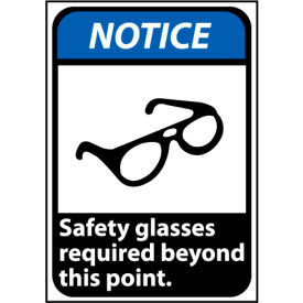 Notice Sign 14x10 Rigid Plastic - Safety Glasses Required Beyond This Point