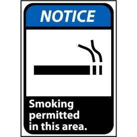 Notice Sign 10x7 Rigid Plastic - Smoking Permitted In This Area