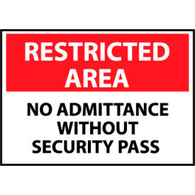 Restricted Area Aluminum - No Admittance Without Security Pass