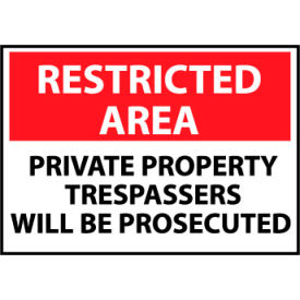 Restricted Area Plastic - Private Property Trespassers Will Be Prosecuted