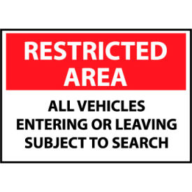 Restricted Area Aluminum - All Vehicles Entering Or Leaving Subject To Search