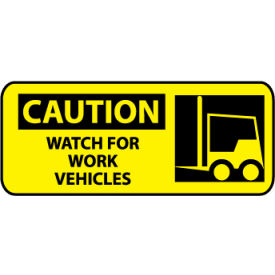 Pictorial OSHA Sign - Vinyl - Caution Watch For Work Vehicles