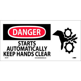Pictorial OSHA Sign - Vinyl - Danger Starts Automatically Keep Hands Clear