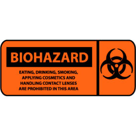 Pictorial OSHA Sign - Vinyl - Biohazard Eating, Drinking, Smoking Prohibited