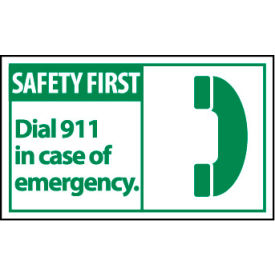 Graphic Machine Labels - Safety First Dial 911 In Case Of Emergency