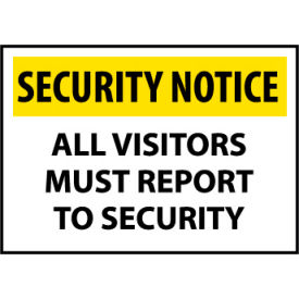 Security Notice Plastic - All Visitors Must Report To Security