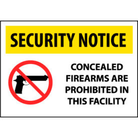 Security Notice Plastic - Concealed Firearms Are Prohibited In This Facility