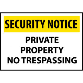 Security Notice Plastic - Private Property No Trespassing