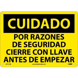 Spanish Aluminum Sign - Cuidado Por Razones De Seguridad Cierre Con Llave