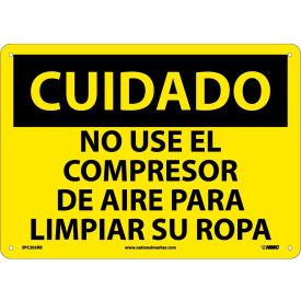 Spanish Plastic Sign - Cuidado No Use El Compresor De Aire Para Limpiar Su Ropa