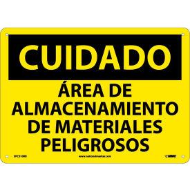 Spanish Plastic Sign - Cuidado Area De Almacenamiento De Materiales Peligrosos