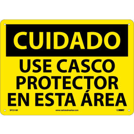 Spanish Aluminum Sign - Cuidado Use Casco Protector En Esta Area