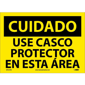 Spanish Vinyl Sign - Cuidado Use Casco Protector En Esta Area