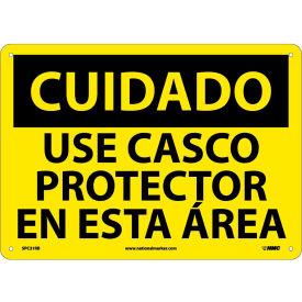 Spanish Plastic Sign - Cuidado Use Casco Protector En Esta Area