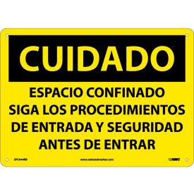 Spanish Plastic Sign - Cuidado Espacio Confinado Siga Los Procedimientos