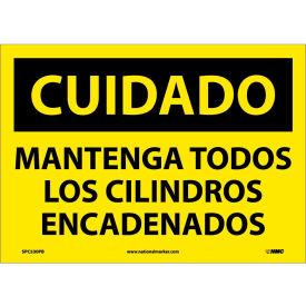 Spanish Vinyl Sign - Cuidado Mantenga Todos Los Cilindros Encadenados