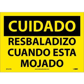 Spanish Vinyl Sign - Cuidado Resbaladizo Cuando Esta Mojado
