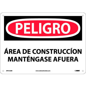 Spanish Aluminum Sign - Peligro Area De Construccion Mantengase Afuera
