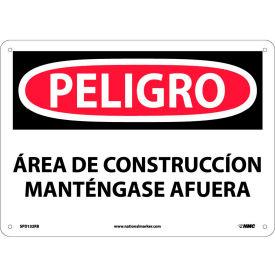 Spanish Plastic Sign - Peligro Area De Construccion Mantengase Afuera
