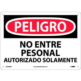 Spanish Aluminum Sign - Peligro No Entre Personal Autorizado Solamente