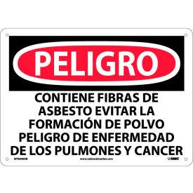 Spanish Aluminum Sign - Peligro Contiene Fibras De Asbesto Evitar La Formacion