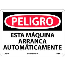 Spanish Aluminum Sign - Peligro Esta Máquina Arranca Automáticamente