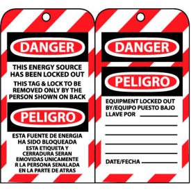 Bilingual Lockout Tags - This Energy Source Has Been Locked Out