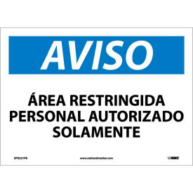 Spanish Vinyl Sign - Aviso Area Restringida Personal Autorizado Solamente