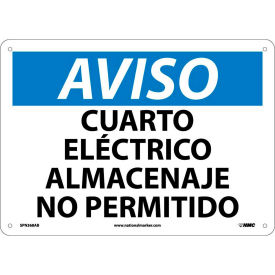 Spanish Aluminum Sign - Aviso Cuarto Electrico Almacenaje No Permitido