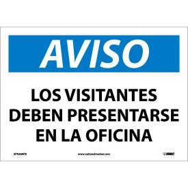 Spanish Vinyl Sign - Aviso Los Visitantes Deben Presentarse En La Oficina