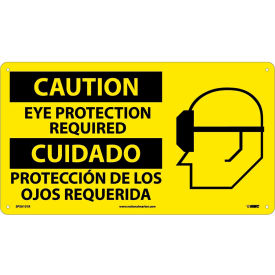 Bilingual Plastic Sign Caution Eye Protection Required