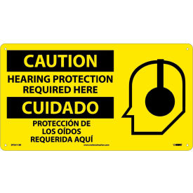 Bilingual Plastic Sign - Caution Hearing Protection Required Here