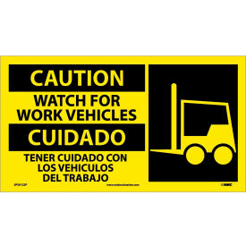 Bilingual Vinyl Sign - Caution Watch For Work Vehicles