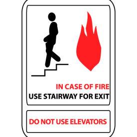 Pan-A-Vue Sign - In Case Of Fire Use Stairway For Exit Do Not Use Elevators