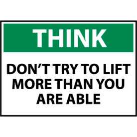 Think Osha 10x14 Plastic - Don't Try To Lift More