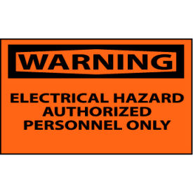 Machine Labels - Warning Electrical Hazard Authorized Personnel Only