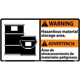 Bilingual Vinyl Sign - Warning Hazardous Material Storage Area