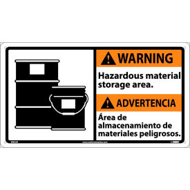 Bilingual Plastic Sign - Warning Hazardous Material Storage Area