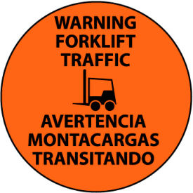 Walk On Floor Sign - Warning Forklift Traffic - Bilingual