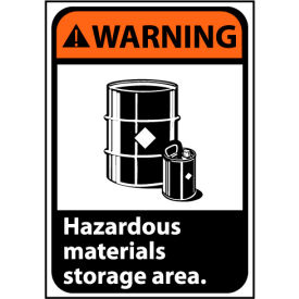 Warning Sign 10x7 Vinyl - Hazardous Materials Storage Area
