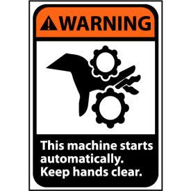 Warning Sign 10x7 Vinyl - Machine Starts Automatically