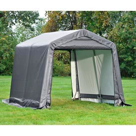 """6x12x8 Peak Style Shed 4-15"""" Augers 1-3/8"""" Frame - Grey"""