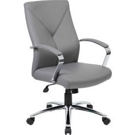 Boss LeatherPlus Executive Chair, Gray