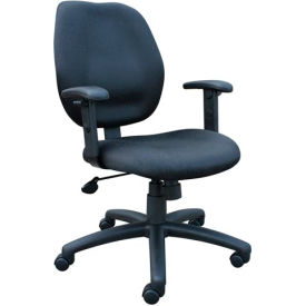 Boss Task Chair with Adjustable Arms - Fabric - Mid Back - Black